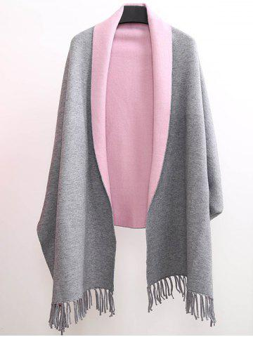 Shop Winter Tassel Lapel Sleeved Cape Pashmina
