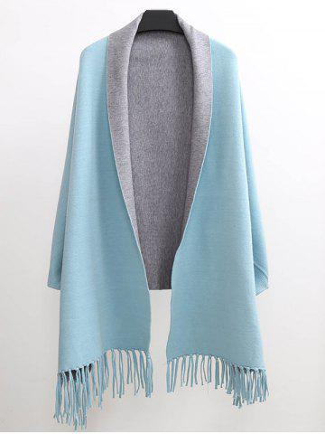 Winter Tassel Lapel Sleeved Cape Pashmina - Light Blue - One Size(fit Size Xs To M)