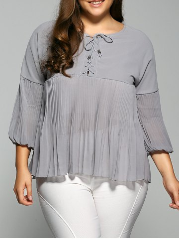 Cheap Lace-Up Plus Size Pleated Blouse
