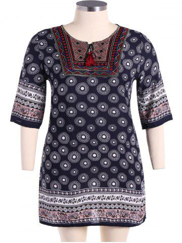 Fancy Bohemian Drawstring Design Embroidery Dress PURPLISH BLUE L