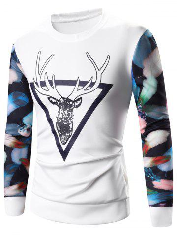 Cheap 3D Elk Print Long Sleeve Sweatshirt WHITE XL
