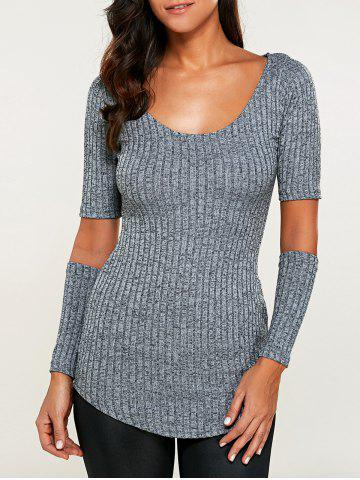 Cut Out Heathered Knitwear