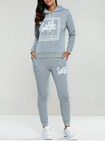 Store Letter Print Drawstring Hoodie Tracksuit LIGHT GRAY L