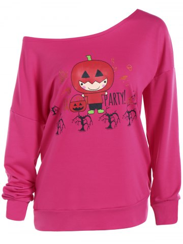 Cheap Skew Collar Pumpkin Print Sweatshirt