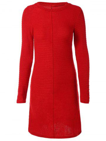 Discount Long Sleeve Ribbed Sweater Dress