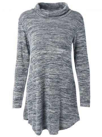 Affordable Turtleneck Asymmetric Knitted Tunic Dress GRAY XL