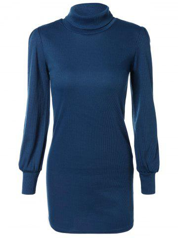 New Skinny Turtleneck Mini Sweater Dress DEEP BLUE XL