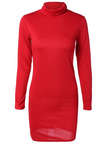 Online Knit Turtleneck Ribbed Fitted Sweater Dress RED XL