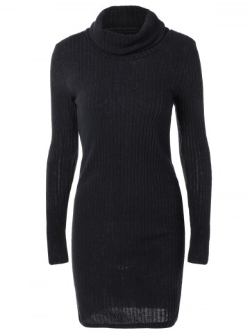 Latest Turtleneck Fitted Ribbed Knit Dress