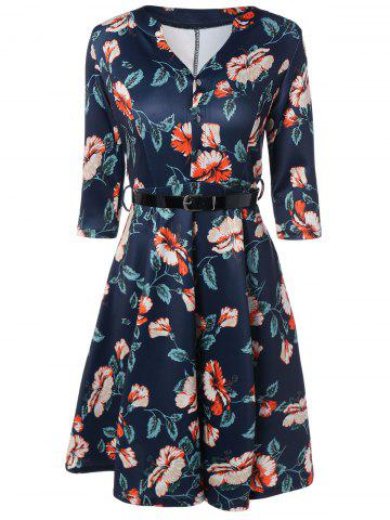 Cheap V-Neck 3/4 Sleeve Floral Print Dress PURPLISH BLUE 2XL