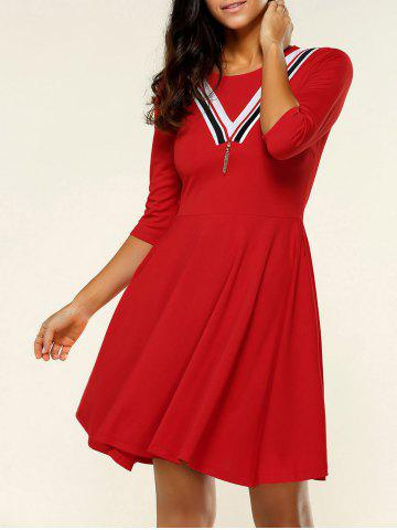 Affordable 3/4 Sleeve Contrast Color Metal Embellished Dress