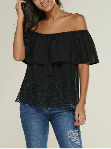 Cheap Off The Shoulder Lace Insert Ruffle Blouse