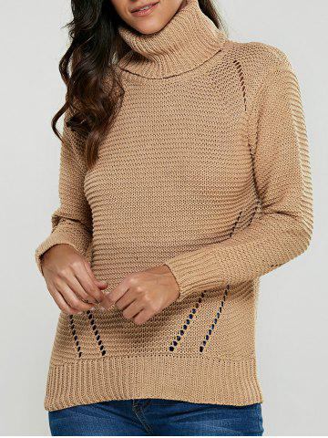 Best Turtleneck Hollow Out Pullover Sweater KHAKI ONE SIZE