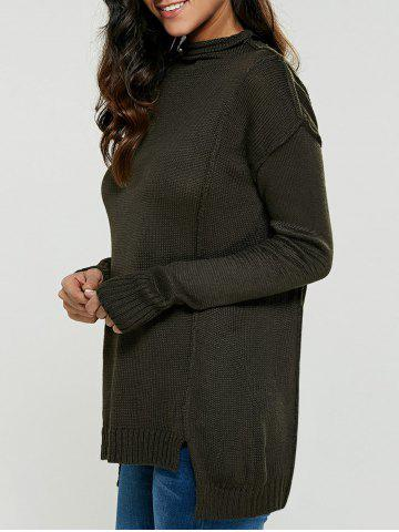 Latest Asymmetric Mock Neck Pullover Sweater OLIVE GREEN ONE SIZE