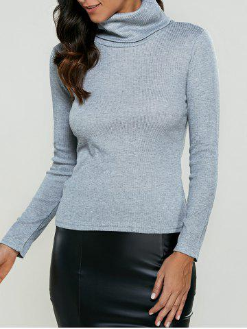 Affordable Turtleneck Ribbed Pullover Knitwear