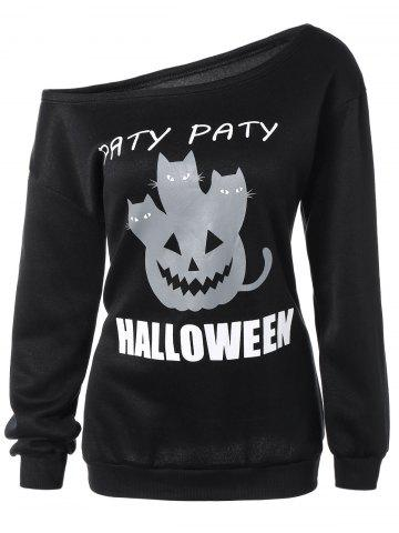 Unique Halloween Mask Print One-Shoulder Sweatshirt
