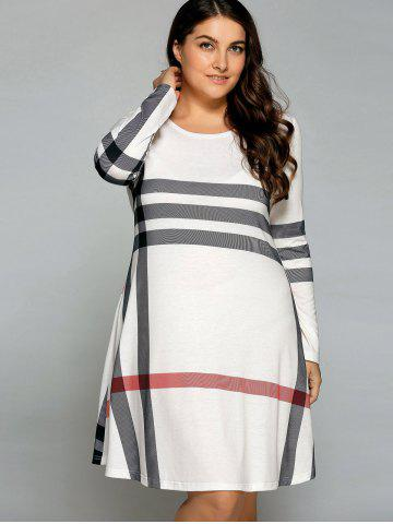 Fashion Casual Plus Size Striped Knee Legnth T-Shirt Dress - OFF-WHITE 2XL Mobile