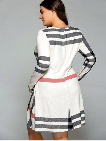 Affordable Casual Plus Size Striped Knee Legnth T-Shirt Dress - OFF-WHITE 2XL Mobile