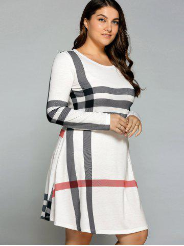 Shops Casual Plus Size Striped Knee Legnth T-Shirt Dress - OFF-WHITE 2XL Mobile