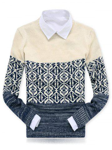 Discount Crew Neck Color Block Spliced Geometric Pattern Sweater APRICOT 2XL