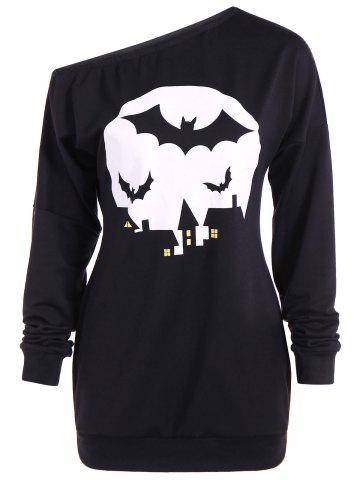 Bat Print One Shoulder Sweatshirt - Black - M