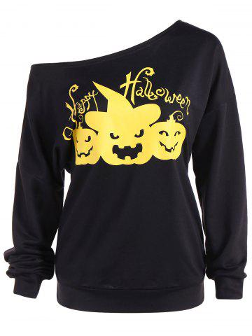 New Happy Halloween One Shoulder Sweatshirt BLACK 2XL