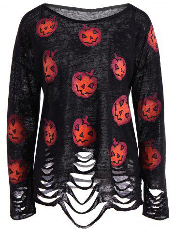 Online Pumpkin Ripped Halloween Knitwear BLACK XL