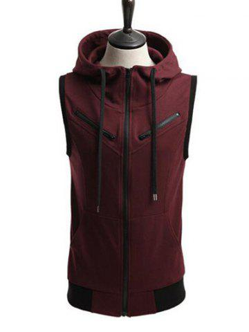 Contrast Trim Zippered Drawstring Sleeveless Hoodie - Wine Red - Xl