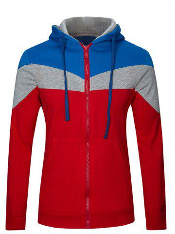 Trendy Color Splicing Zip Up Long Sleeve Hoodie RED 2XL