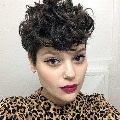 Trendy Short Pixie Cut Side Bang Fluffy Curly Synthetic Wig