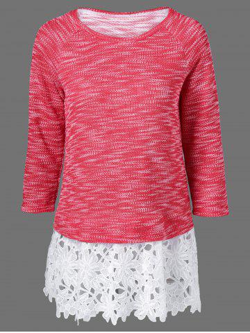 New Lace Patchwork Raglan Sleeve Knitted Blouse