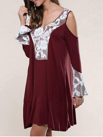Outfit Cold Shoulder Lace Patchwork Smock Dress