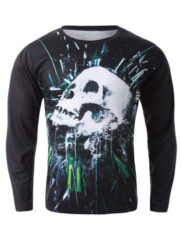 Discount 3D Skulls Print T-Shirt BLACK XL