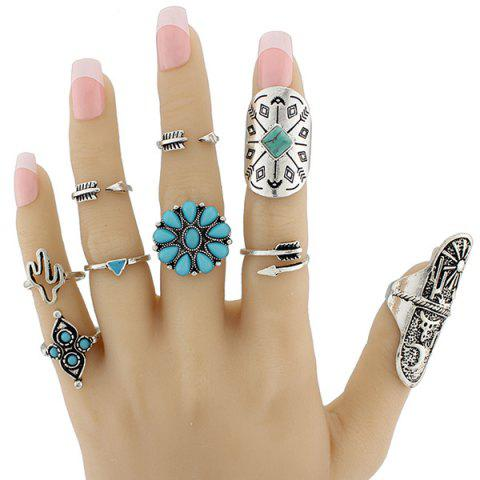 Chic Engraved Sun Moon Triangle Cactus Ring Set - ONE-SIZE SILVER Mobile