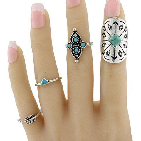 Shop Engraved Sun Moon Triangle Cactus Ring Set - ONE-SIZE SILVER Mobile