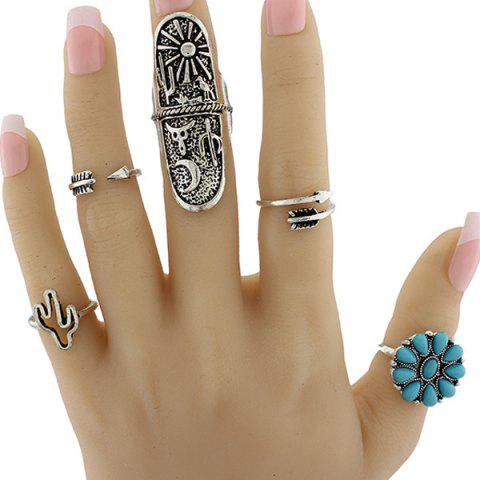 Discount Engraved Sun Moon Triangle Cactus Ring Set - ONE-SIZE SILVER Mobile