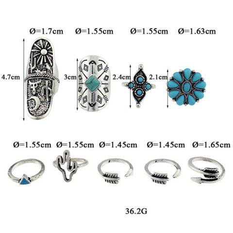 Hot Engraved Sun Moon Triangle Cactus Ring Set - ONE-SIZE SILVER Mobile