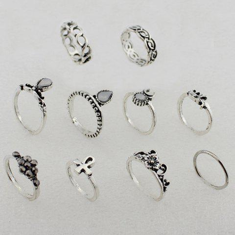 Hot Moon Elephant Water Drop Flower Ring Set - ONE-SIZE SILVER Mobile