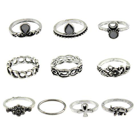 Chic Moon Elephant Water Drop Flower Ring Set - ONE-SIZE SILVER Mobile