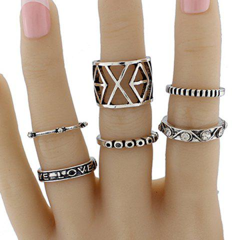 Shop Engraved Love Geometric Jewelry Ring Set - ONE-SIZE SILVER Mobile
