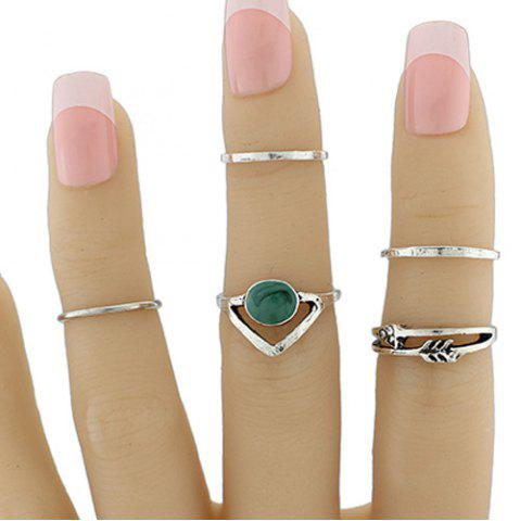 Hot Faux Gem Geometric Love Arrow Ring Set SILVER ONE-SIZE