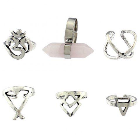 Unique Natural Stone Geometric Heart Finger Ring Set - ONE-SIZE SILVER Mobile