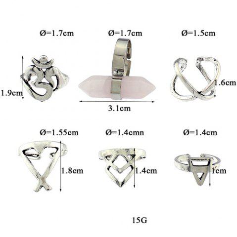 Shops Natural Stone Geometric Heart Finger Ring Set - ONE-SIZE SILVER Mobile