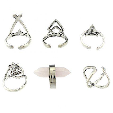 Fashion Natural Stone Geometric Heart Finger Ring Set - ONE-SIZE SILVER Mobile