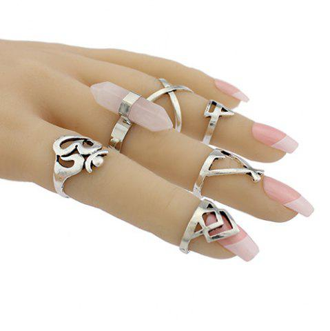 Buy Natural Stone Geometric Heart Finger Ring Set - ONE-SIZE SILVER Mobile