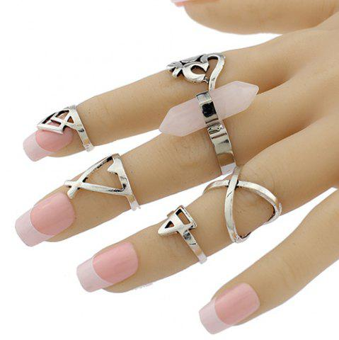 Store Natural Stone Geometric Heart Finger Ring Set - ONE-SIZE SILVER Mobile