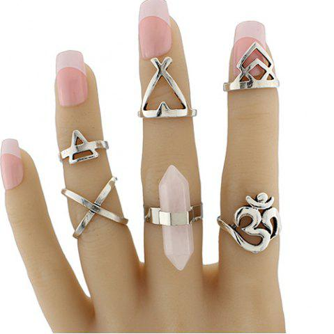 Natural Stone Geometric Heart Finger Ring Set - SILVER ONE-SIZE