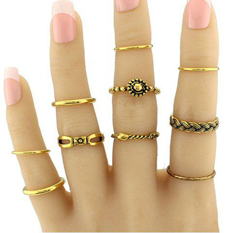 Buy Geometric Braid Circle Jewelry Ring Set GOLDEN ONE-SIZE