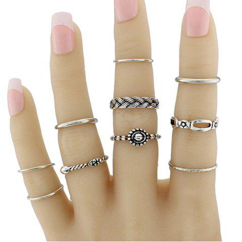 Hot Geometric Braid Circle Jewelry Ring Set - ONE-SIZE SILVER Mobile