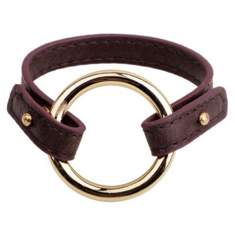 Latest Faux Leather Circle Bracelet - COFFEE  Mobile